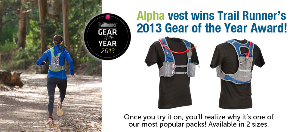 UltrAspire's Alpha was named Trail Runner Gear of the Year: Best Unisex Hydration Pack for 2013