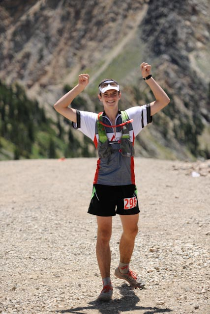 Micah running with the Alpha at speedgoat 2012, endurance training paid off