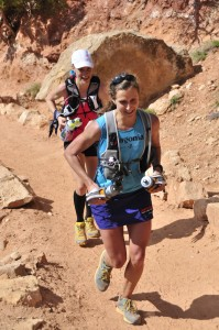 "Krissy Moehl and Devon Crosby-Helms (now Yanko),  established a Grand Canyon Rim to Rim to Rim fastest known time (FKT) ""record."""