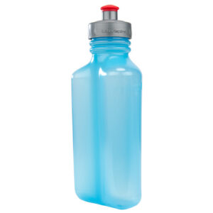Blue UltraFlask shaped to rest against the body