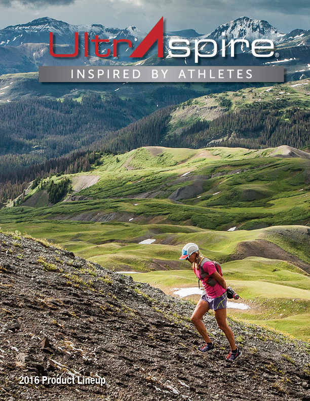 Catalog cover photo: Darcy Piceu as she gains elevation during the 2015 Hardrock 100.